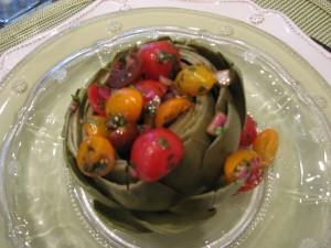 Artichoke with Tomato Salad