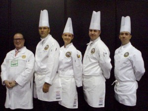 Our first four military chef scholarship winners with kitchen coach Mial Parker
