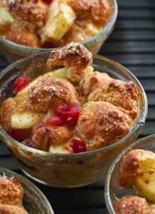 This apple/cranberry cobbler created by Chef Rocco DiSpirito is completely gluten free. The naturally sweet fruit pairs perfectly with a golden-brown biscuit topping made with Udi's Gluten Free blueberry muffins. This and additional recipes are available at www.udisglutenfree.com.