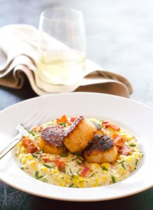Seared Scallops with Smoky Corn PUree