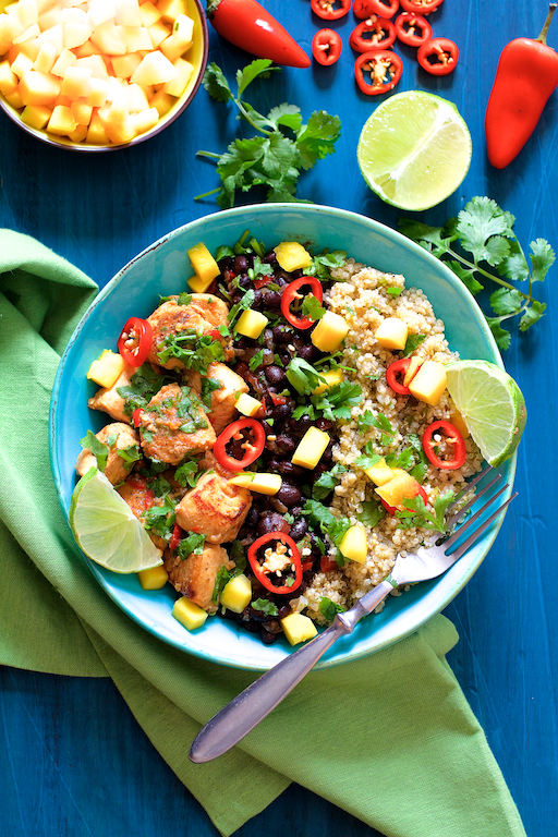 Cuban Chicken Black Bean and Quinoa Bowls