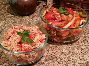 Chicken Fajitas and Spanish Rice--gluten and lactose free