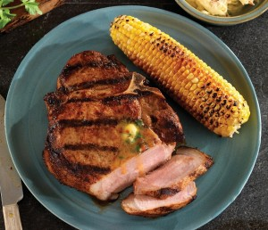Grilled Porterhouse (Bone-in Loin) Chops with Chipotle Cilantro Butter. Click here for the recipe.