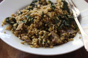 Kale and crimini mushroom Freekah pilaf2