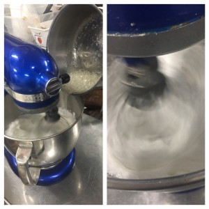 Making the egg white-syrup mixture
