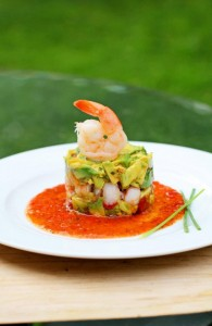 Natalie's Crab and Shrimp Avocado Salad with Tomato Coulis