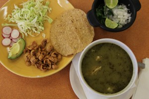 Pozole and condiments
