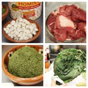 Clockwise from top left: Hominy, pork shoulder, hoja santa, ground pumpkin seeds