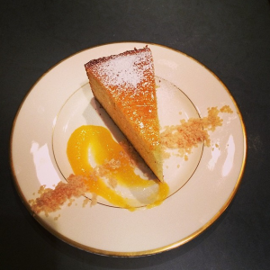 Cardamom Citrus Cake with Mango Jam and White Pepper Crunch