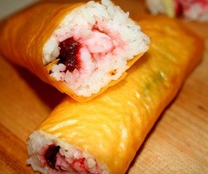 saffron shrimp and ginger roll