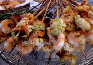 Shrimp Pesto Lollipops