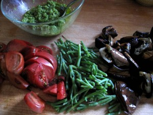 veggies for garlic scapes pesto pasta